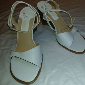 White leather, ankle wrap sandals